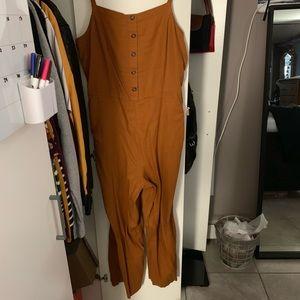 Button Front Linen-Blend Cami Jumpsuit